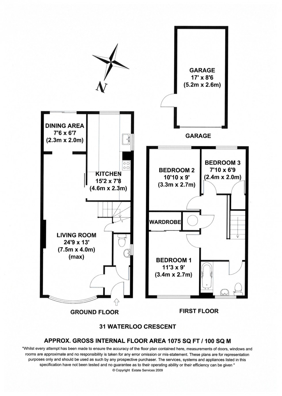 Floorplan for Waterloo Crescent, Wokingham